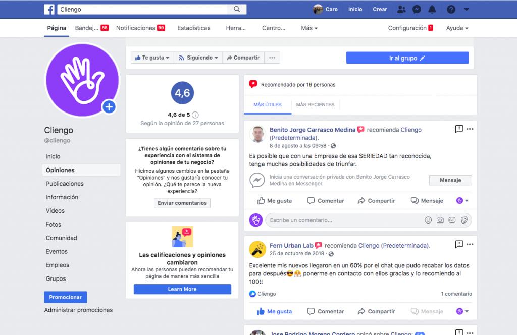Cliengo Reviews en Facebook