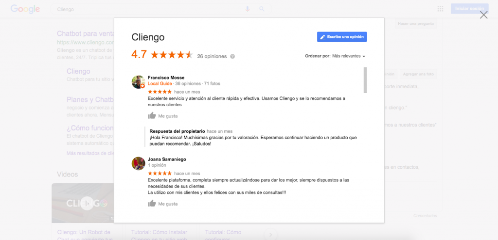 Cliengo Reviews NPS Net Promoters Score Google