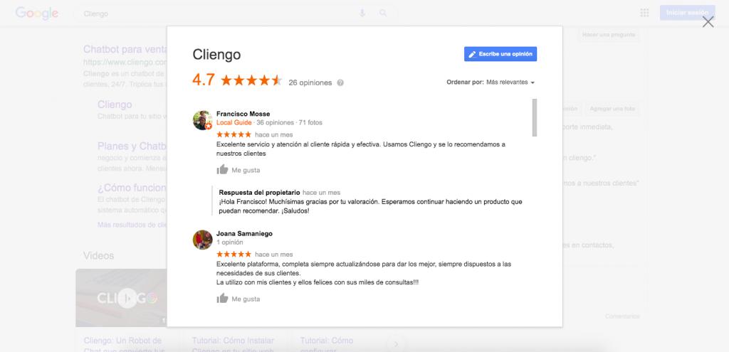 Cliengo Reviews NPS Net Promoters Score Google